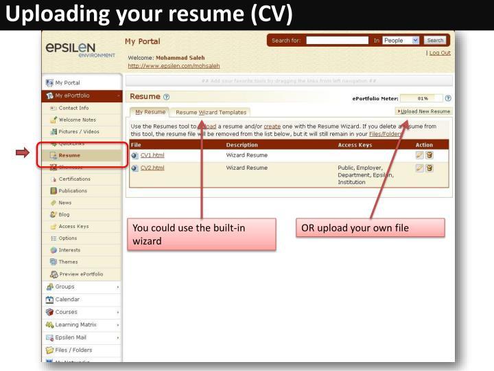 Uploading your resume (CV)