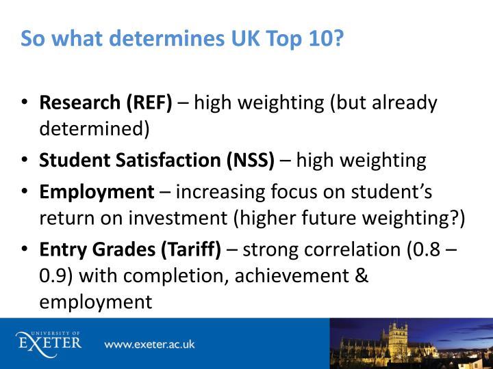 So what determines UK Top 10?