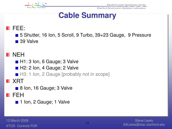 Cable Summary