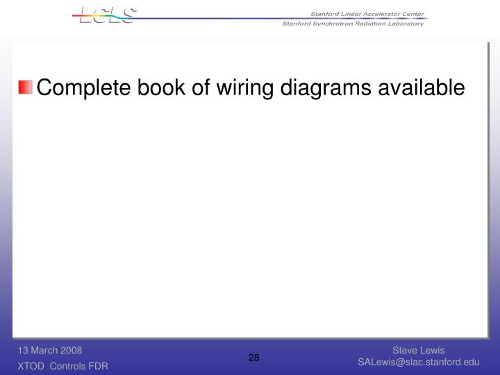 Complete book of wiring diagrams available