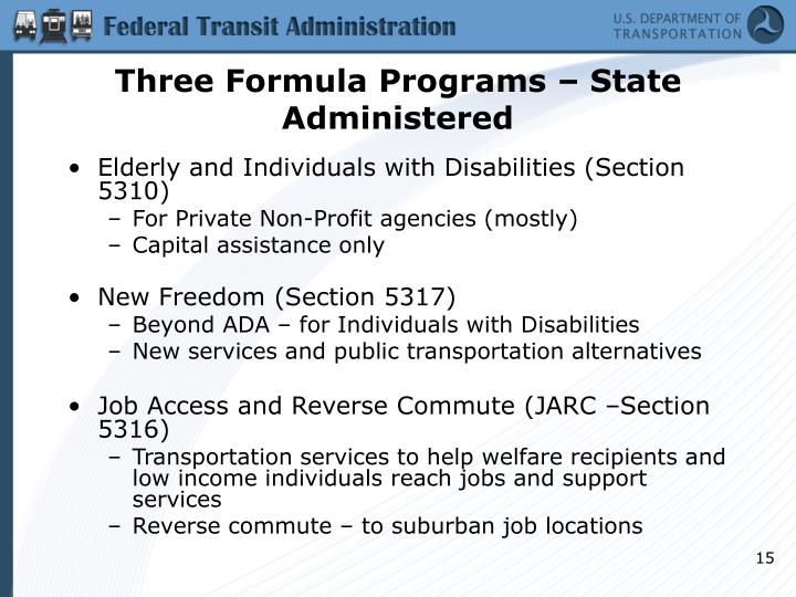 Three Formula Programs – State Administered
