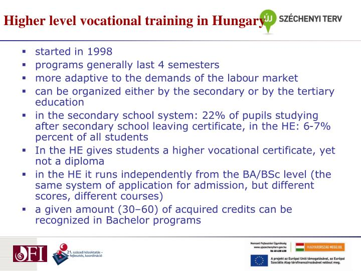 Higher level vocational training in Hungary