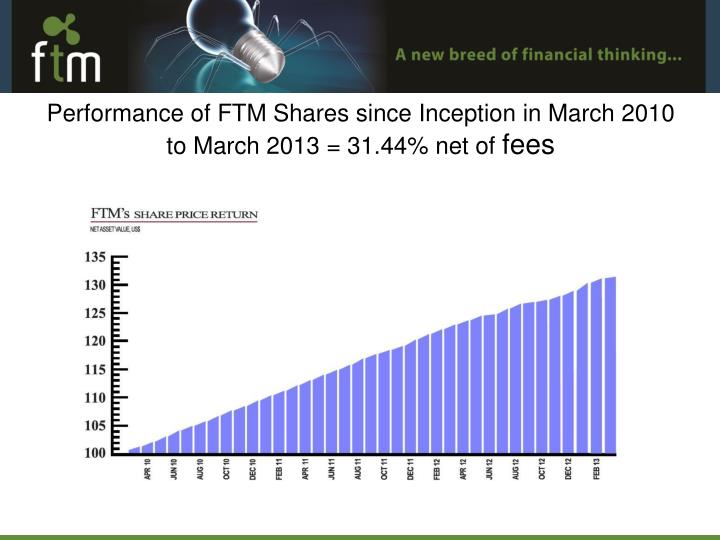 Performance of FTM Shares since Inception in March 2010 to March 2013 = 31.44% net of