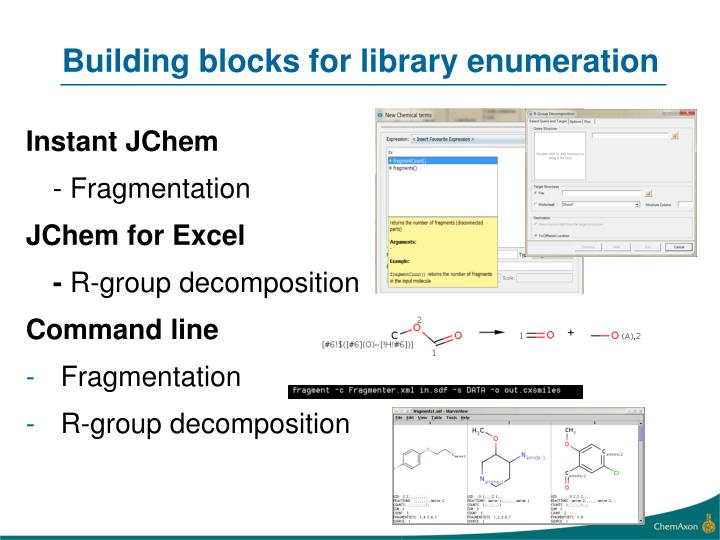 Building blocks for library enumeration