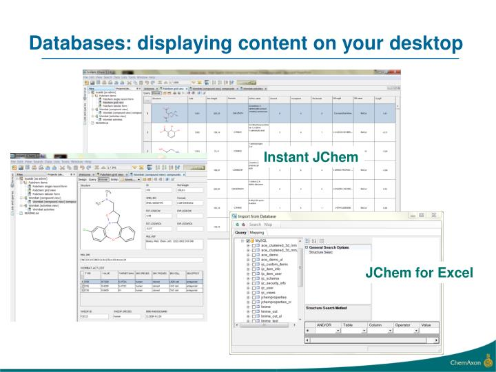 Databases: displaying content on your desktop