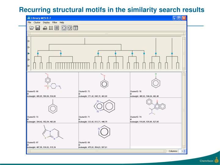 Recurring structural motifs in the similarity search results