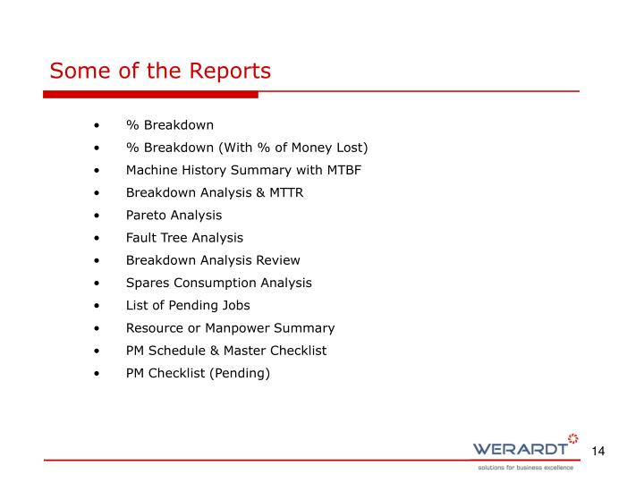 Some of the Reports