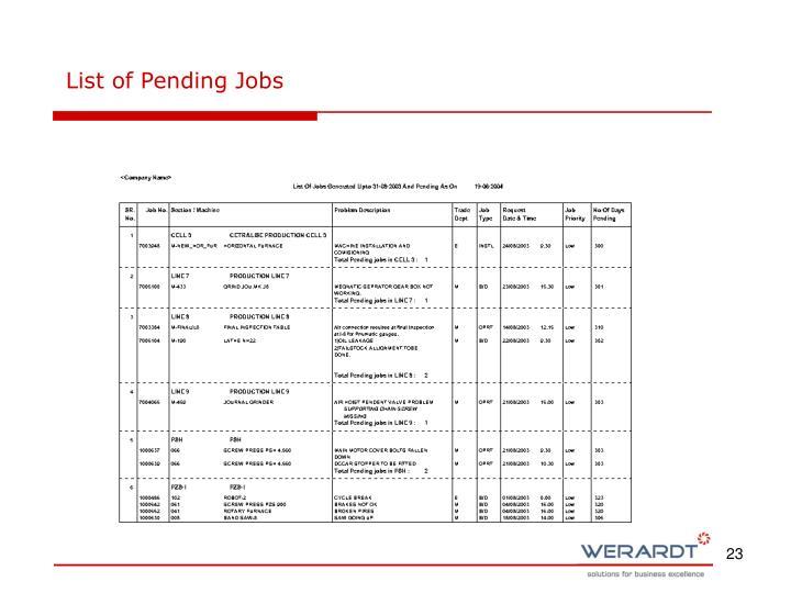 List of Pending Jobs