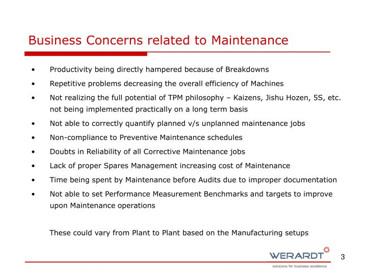 Business Concerns related to Maintenance