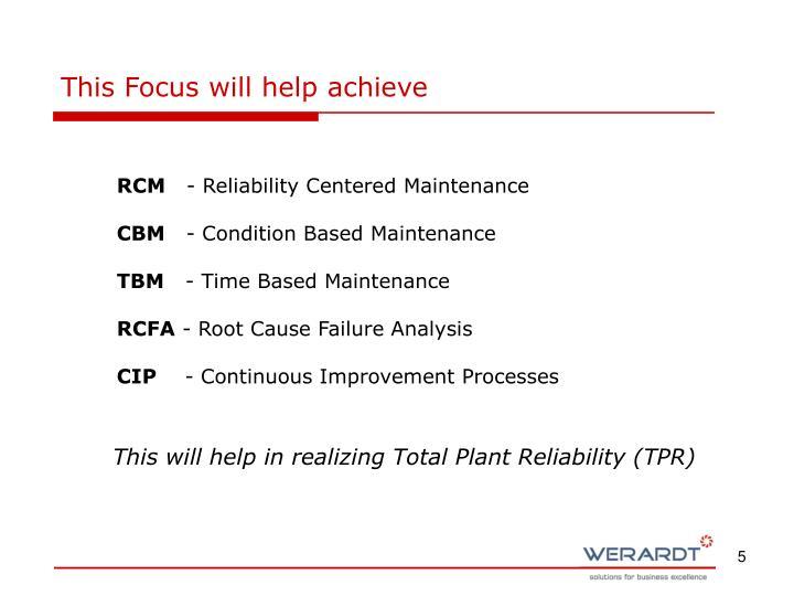 This Focus will help achieve
