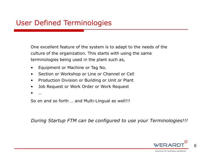 User Defined Terminologies