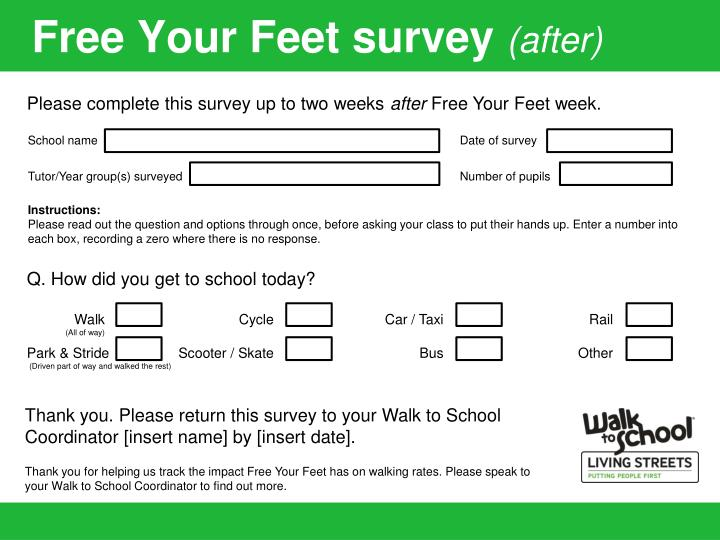 Free your feet survey after