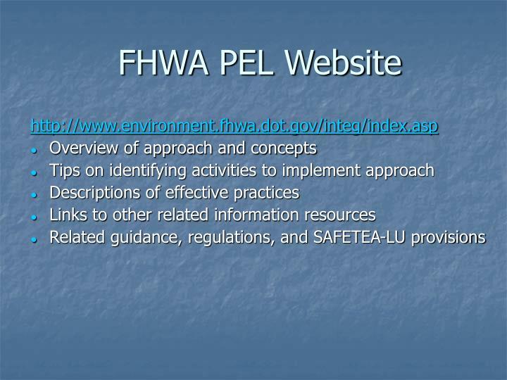 FHWA PEL Website