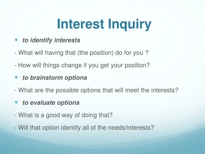 Interest Inquiry