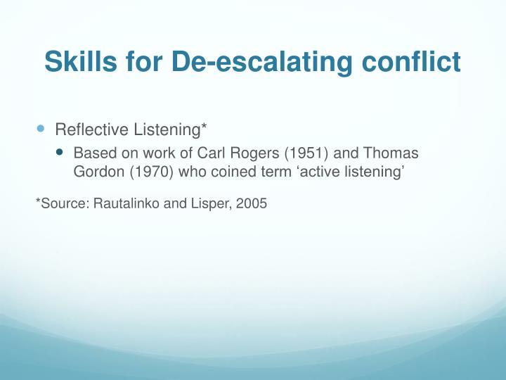 Skills for De-escalating conflict