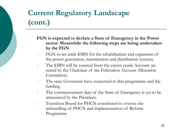 Current Regulatory Landscape
