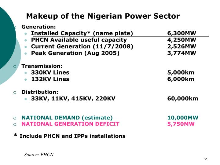 Makeup of the Nigerian Power Sector