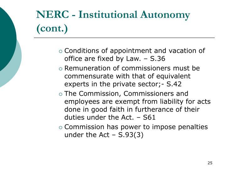 NERC - Institutional Autonomy (cont.)