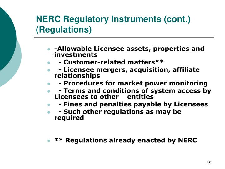 NERC Regulatory Instruments (cont.)