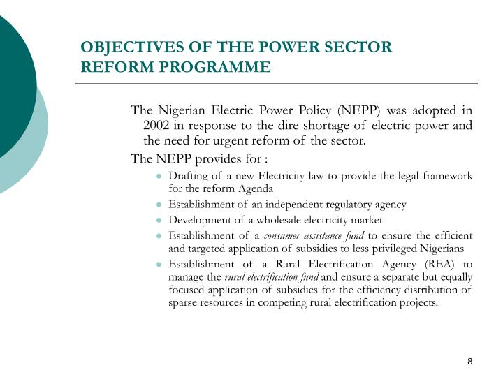 OBJECTIVES OF THE POWER SECTOR