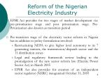 reform of the nigerian electricity industry