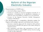 reform of the nigerian electricity industry1