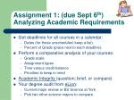 assignment 1 due sept 6 th analyzing academic requirements