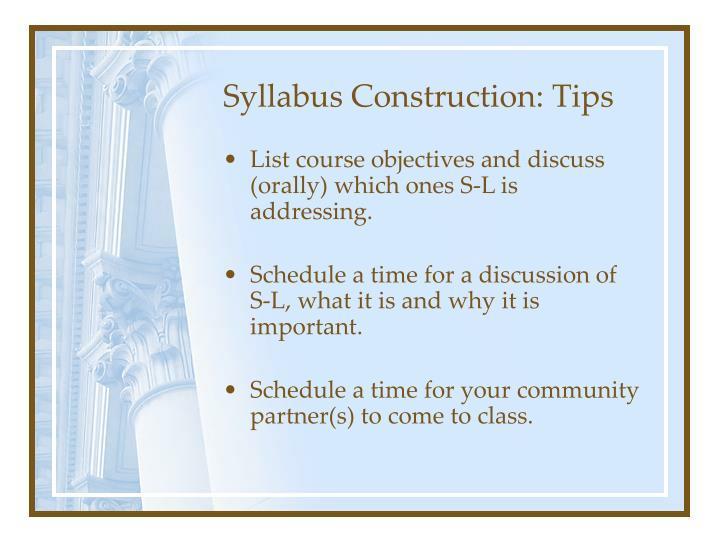 Syllabus Construction: Tips