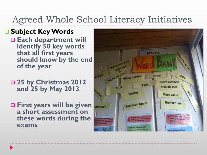 Agreed Whole School Literacy Initiatives