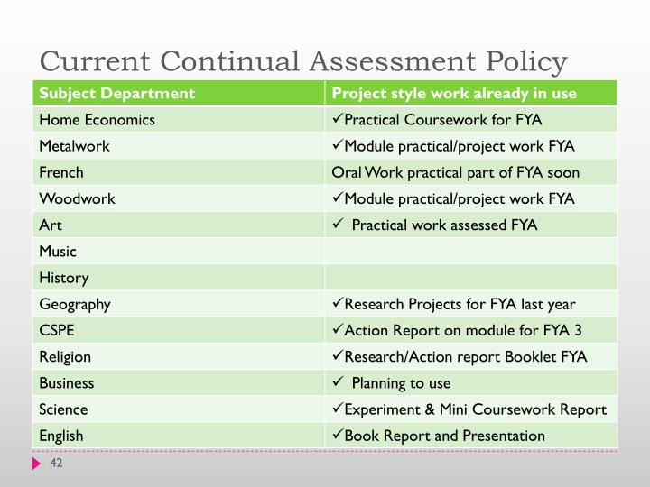 Current Continual Assessment Policy