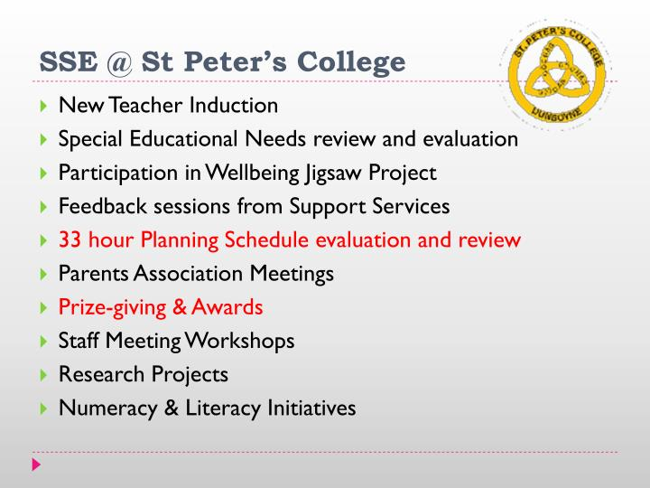 SSE @ St Peter's College