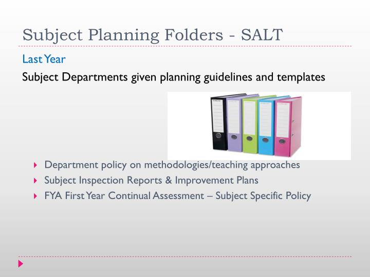 Subject Planning Folders
