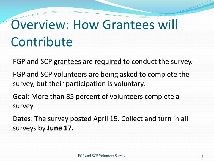 Overview: How Grantees will Contribute