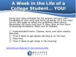 a week in the life of a college student you