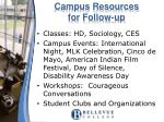campus resources for follow up