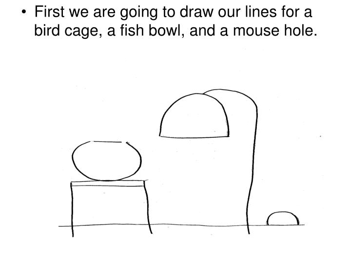 First we are going to draw our lines for a bird cage, a fish bowl, and a mouse hole.