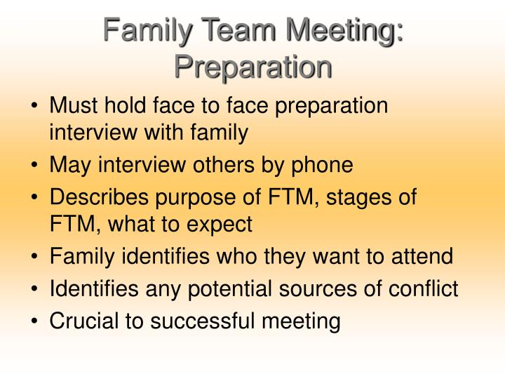 Family Team Meeting: Preparation