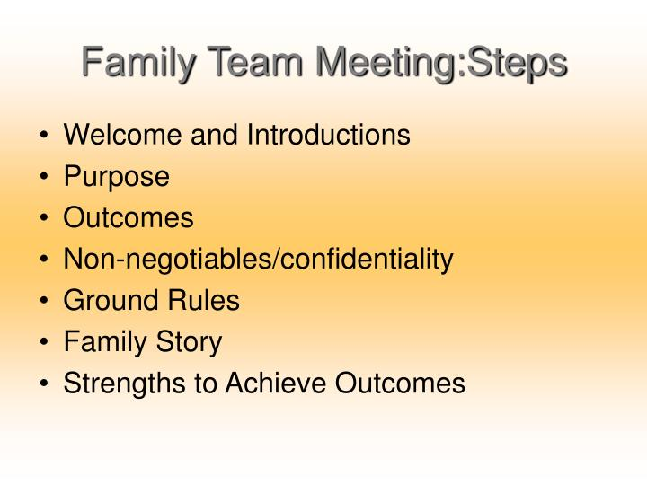 Family Team Meeting:Steps