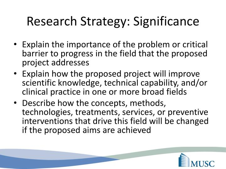 Research Strategy: Significance