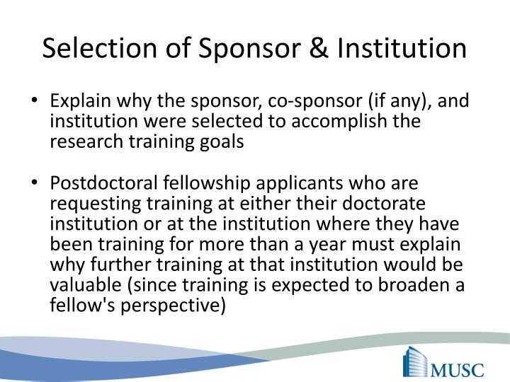 Selection of Sponsor & Institution