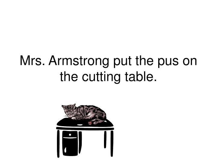 Mrs. Armstrong put the pus on the cutting table.