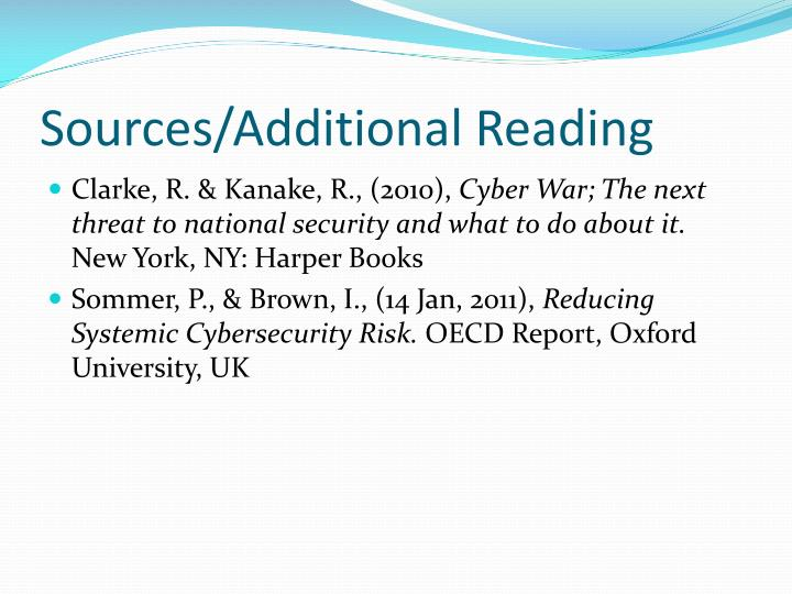 Sources/Additional Reading