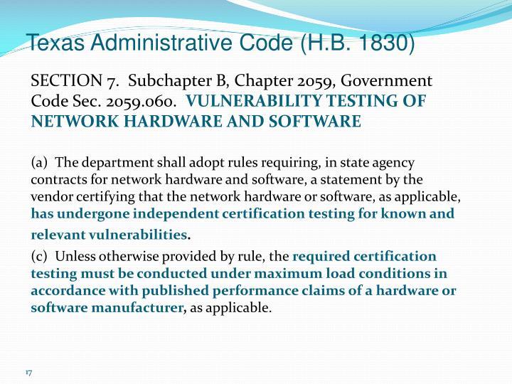 Texas Administrative Code (H.B. 1830)