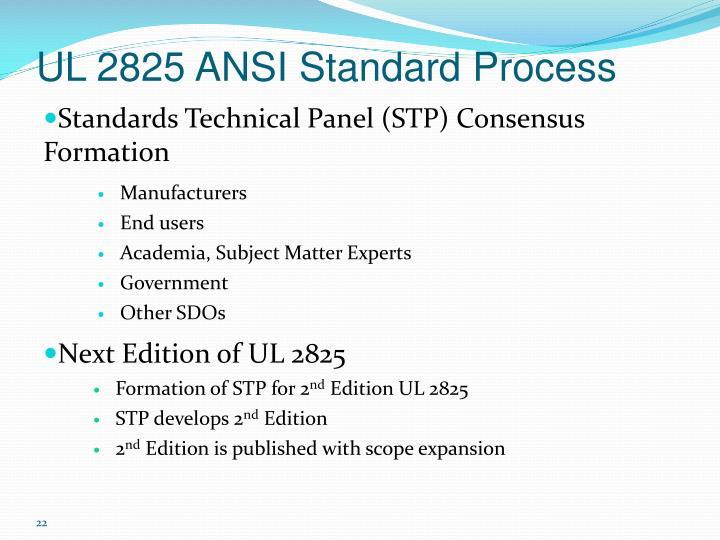 UL 2825 ANSI Standard Process
