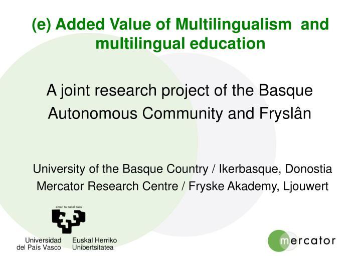 (e) Added Value of Multilingualism