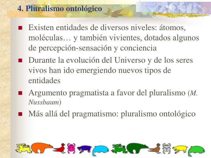 4. Pluralismo ontológico