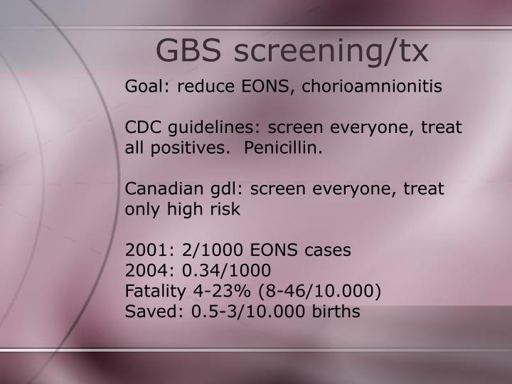 GBS screening/tx