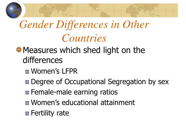 Gender differences in other countries1