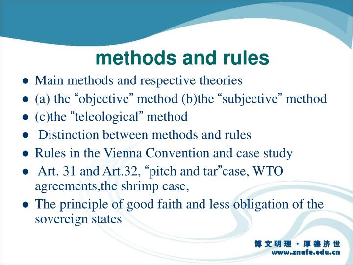 methods and rules