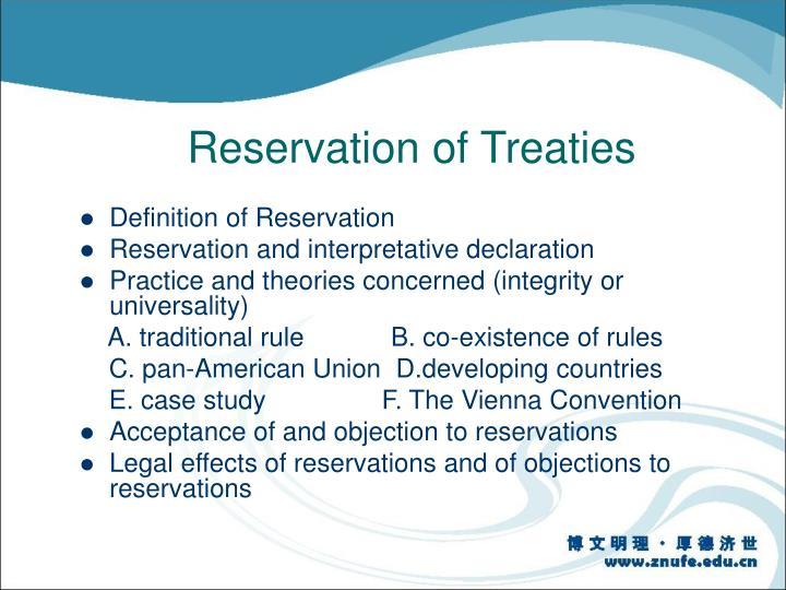 Reservation of Treaties